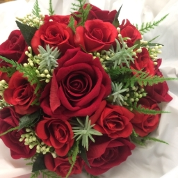 an artificial silk Red Rose Bridal Bouquet