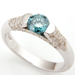 Platinum Blue Diamond And Pave Set Diamond Engagement Ring
