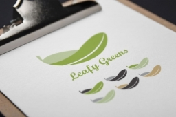 Leafy Greens Vegan Cafe Logo Design with brand colour variations