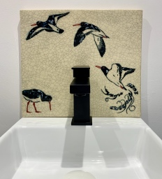 Oyster Catchers Sink Backsplash