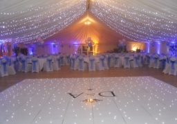 Fairy lights, LED dance floor with Initials, Uplighter's, Drapes