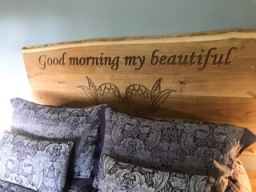 Engraved Oak Headboard