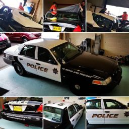 Roof and Door Wrap on American style police Car