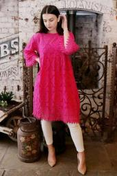 Crochet Floral Lace Fluted Sleeve Dress