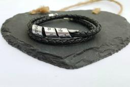 Hidden message leather wrap bracelet