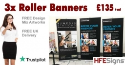 3x Roller Banners Just £135+vat