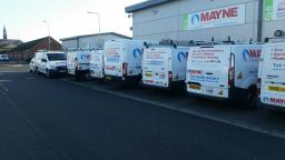 Mayne Gas Heating Ltd fleet of vehicles outside prremises in Prince Albert Gardens.