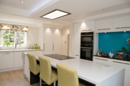 Kitchen in Opengrain White and Wharf Omega worktops