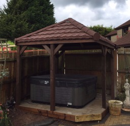 Lightweight Tiles on a gazebo, hot tub shelter.