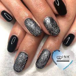 Silver bubble effect nails