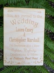 Bespoke Natural Wood Wedding Invite