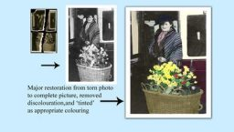 major restoration from torn old photo, to complete and tinted