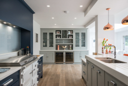Shaker style kitchen handpainted in grey and navy