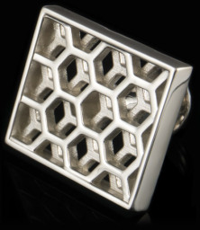 high gloss silver 'Honeycomb' cufflinks