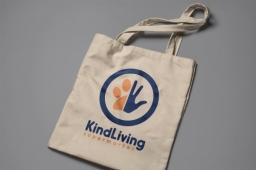 KindLiving Vegan Ethical Supermarket Logo On Tote Bag