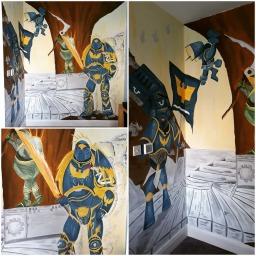 kids bedroom feature wall - Warhammer