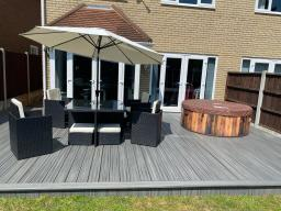 Completed exterior decking job