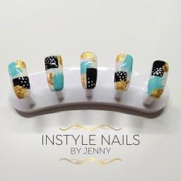 Aqua Abstract Nails