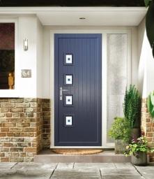 Composite door with double gazing