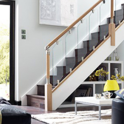 Fusion stairs with oak balustrade