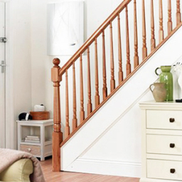 Trademark stairs with tapered wooden spindles