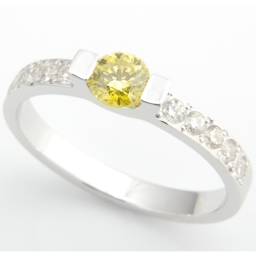 18ct White Gold Yellow And White Diamond Engagement Ring