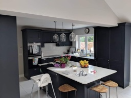 Modern kitchen painted and decorated in Hampshire