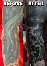 Skull Tattoo Cover up London Blue Lady Tattoo