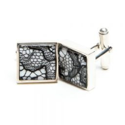 Men's lace cufflinks 13th anniversary gift for him