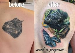 Iguana Tattoo cover up London Blue Lady Tattoo