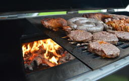Open flame BBQ with sellection of meat