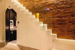 Weybridge staircase with cloakroom underneath