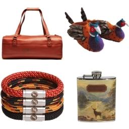 Unique British Gift ideas for Men: Ted Baker hip flask, Elvis  Kresse Fire Hose Upcycled overnight bag, Boing lifestyle bracelets, Sew Heart Felt Slippers