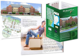 CGI drawing from architects plans and excellent print finishing make up this brochure for a Property Developer.