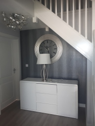 Hall stairs and landing completed in Glan Llyn New