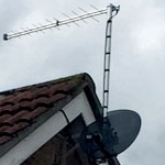 Log Periodic Aerial and Sky Mini Dish Installed to Apex