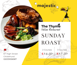Sunday Roast at The Thyme Restaurant.