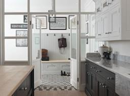 Dark Edwardian Shaker kitchen with cloakroom