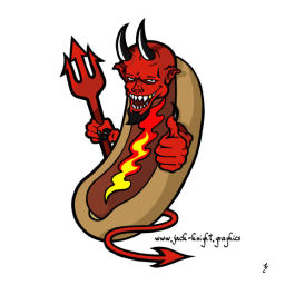 Devil Hotdog Design For Man V Food Challenge
