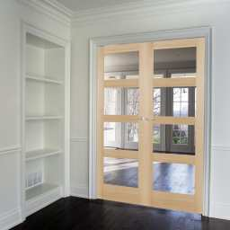 Oak Shaker 4 Light Clear Internal French Doors