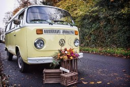 Buttercup Bus - yellow wedding car campervan hire