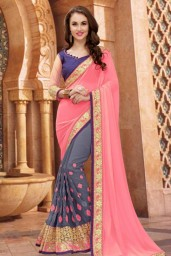 Decent Peach Georgette And Lycra Saree With Dupion