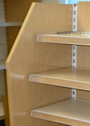 Tegometall shelving with wood panels