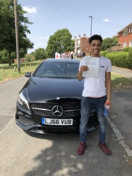 Kieron passed 1st time in West Wickham