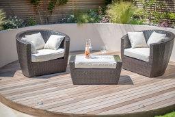 Deck area, garden design in Wandsworth