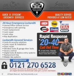 locksmith services Anytime Locksmiths Birmingham