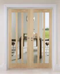 Oak Aston Clear Internal French Doors