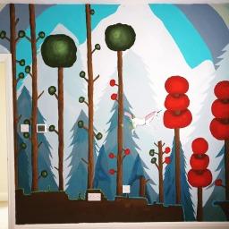 Kids bedroom wall painting - Terraria video game