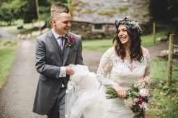 bride and groom in a forest wedding