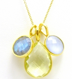 Rodgers & Rodgers Gold Vermeil Labradorite, Lemon Topaz, Powder Blue Necklace